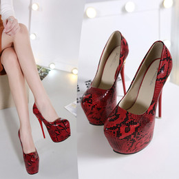 Wholesale Nightclub sexy snakeskin grain fine with cm high with waterproof computer large base shoe heels for women s shoes