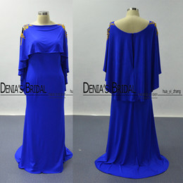 Cape Sleeves Prom Dresses 2016 Royal Blue Golden Lace Appliqued Sheath Scoop Satin Evening Party Dresses