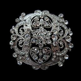 Vintage Silver Clear Rhinestone Crystal Large Flower Brooch for wedding