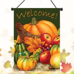 28x40cm Pumpkin Pattern Harvest Welcome Autumn Fall Garden Flag Yard Banner