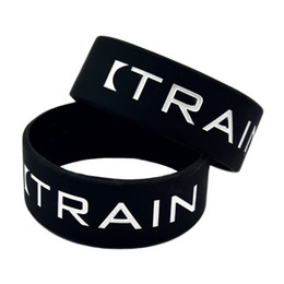 Wholesale 50PCS Lot Train Hard Silicone Wristband 1 Inch Wide Bangle Great For Daily Reminder By Wearing This Bracelet