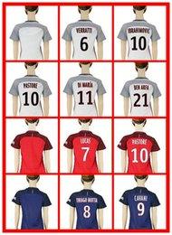 Wholesale Hot Women Paris St Germain Away Red Home Blue DI MARIA Lucas Jese Pastore Soccer Jersey Women s White Training Shirt Jerseys