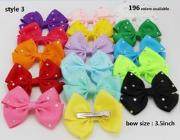 4 style available ! 3.5inch Baby Girl Infant Hairband Hair Bows Headbands Color rhinestone hair blow clip 120pcs