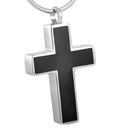 IJD8355 Black Enameled Simple Cross Cremation Ashes Jewelry Stainless Steel Pendant Urn Ashes Necklace With Funnel