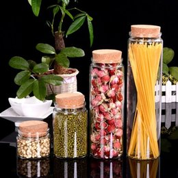 Grandes bouteilles liège à vendre-Grandes bouteilles en verre pour le stockage de safran avec des bouchons de nourriture de corbeaux pour le bonbon de safran Transparent Bouteilles vides claires 4pcs / lot