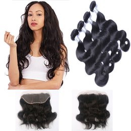 Resika 4 Bundles 100g pcs Body Wave Brazilian Virgin Hair Weave With 13*4 Lace Frontal Brazilian Virgin Hair Weave Bundles Double Weft