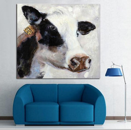 Framed Cow Hand-painted Modern Cartoon Animals Art Oil Painting,Home Wall Decor On High Quality Canvas in Multi sizes 012