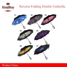 Wholesale best Windproof Reverse Folding Double Layer Inverted Chuva Umbrella for Self Stand Inside Out Rain Protection C Hook Hands For Car