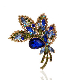 4Colors Full Crystal Rhinestone Brooches Jewelry Vintage Luxury Plant Shape Brooches For Women Safety Pins For Wedding Party