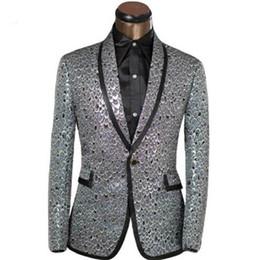 Trajes de la astilla en Línea-Marca de ropa última hombres Blazer Golden Sliver Escala Diseño Slim Fit Prom Suits Tuxedo Wedding Party Blazer tamaño XS-6XL