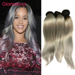 Glamorous Brazilian Hair Bundles Ombre Grey Body Wave Straight Human Hair Extensions 4Pcs Brazilian Malaysian Indian Peruvian Hair Wefts
