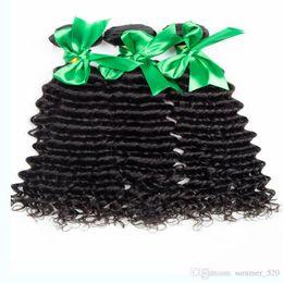 Descuento 7a encierro del pelo de la onda profunda 2016 Pelo humano malasio 7A grados de color natural onda profunda 3 paquetes con cierre de encaje sin procesar el pelo humano