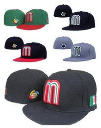 Acheter en ligne Cap mexico-Vente en gros 2017 Green Mexico Fitted Hats For Men Casquette de baseball Hat de sport en plein air Summer Cotton Sun Hat Femmes Football Hat Mix Order