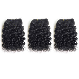 Brazilian Remy Human Hair Weave Short Natural Jerry Curly Deep Curly 8inch 3pcs lot Black Color 100% Human Hair Extension