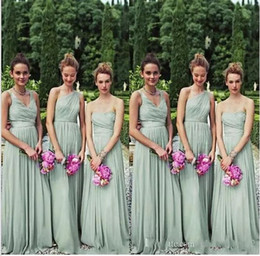 2017 New Beach Dust Green Bridesmaid Dresses Long Floor One Shoulder 3 Styles Wedding Party Gowns Custom Made Plus Size Evening Dresses