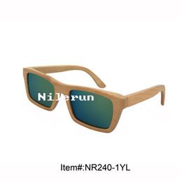 fashion brand new rectangle mirror yellow lens natural bamboo sunglasses
