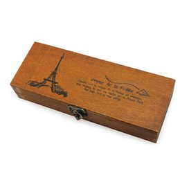 Wholesale Antique Vintage Eiffel Tower Wooden Pencil Case Stationery Storage Box mm Good Gift For Child Students Or Friends