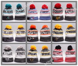 Wholesale 2017 Hot Sale Blackhawks Flyers Hockey Beanies Blues Rangers Penguins Sharks Kings Winter Beanie Caps Skull Knit Best Quality Sports Beanies