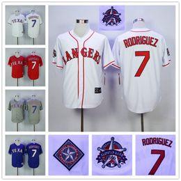 Wholesale Vintage Men Texas Rangers Ivan Rodriguez Throwback White Blue Gray Red MLB Baseball Jerseys