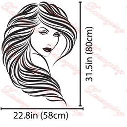 Hot Vinyl Wall Stickers Home Decor Hair Beauty Salon Barbershop Sexy Girl Wall Stickers Woman Face Home Deco