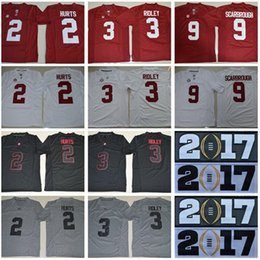 Wholesale Men Patch Finals Champions College Alabama Crimson Tide Jerseys Jalen Hurts Calvin Ridley Bo Scarbrough Kenyan Drake Playoff