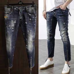 Wholesale NEW Arrive D Skinny Button Fly Mens Jeans Micro elastic Denim Desinger1601 Slim Top quality Make shabby holes Print ink MENS Jeans