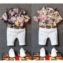 Wholesale Kids Boys Sets New Summer Baby Boy Bear Print Shirts Short Pants Outfits Children Suits Fancy Children Clothes S007