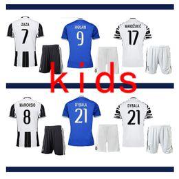 Wholesale 16 Kid Soccer Kit Juventus DYBALA HIGUAIN BUFFON MARCHISIO KHEDILA PJACA CHIELLINI Custom Youth Soccer Jersey Football Kit