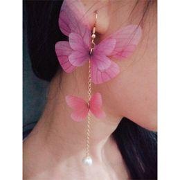 Japan and South Korea popular jewelry hot fairy tulle butterfly wings pearl earrings earrings without ear hole single