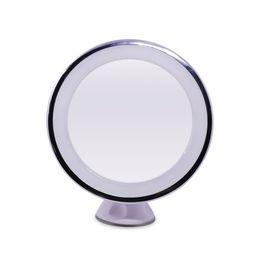 Luces individuales con pilas en Línea-Espejos iluminados LED de baño de un solo lado Ventosa de succión de vidrio redondo AAA Powered espuma de maquillaje de la batería con la batería