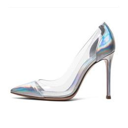 Promotion chaussures habillées pour les femmes prix 2016 Nouveaux arrivages de prix en usine en cuir verni Talons hauts 10 CM Femmes Pompes Transparent PVC Patchwork Femmes Tenues de soirée Chaussures Talons