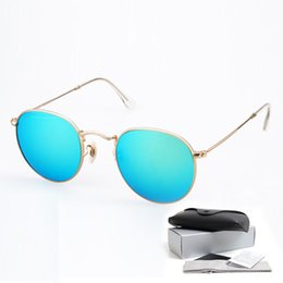 Wholesale Top Quality Excellent Brand Designer Sunglasses Round metal Frame Mirror Sunglasses Mens Womens Tide Sunglasses