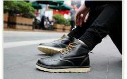 Wholesale Soft Sole Casual Leather Shoes - New autumn and winter shoes. Men's boots. Martin boots. Men's casual shoes. Warm shoes. Fashion shoes. Artificial PU. Rubber sole.