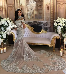 Luxury Sheer Long Sleeve Mermaid Wedding Dresses 2019 Major Beading with Appliques High Neck Court Train Robe De Mariage Bridal Gowns BA6703