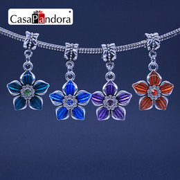 CasaPandora 4 Colors Silver-colored Five Leaf Clover Shape Pendant Fit Bracelet Charm DIY Enamel Bead Making Pingente Berloque Wholesale