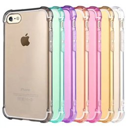 For iPhone7 Plus Transparent Crystal Soft Case Transparent Pinkycolor TPU Anti-knock Back Cover for Apple iPhone7 thin Phone Protective Case