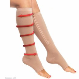 NEW 1pair Zip Sox Compression Socks Zipper Leg Support Knee Stockings Open Toe Wholesale