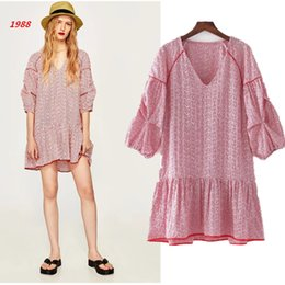 1988 women's summer new fashion, red stripe embroidery, lotus leaf hem, V collar, seven point sleeve dress
