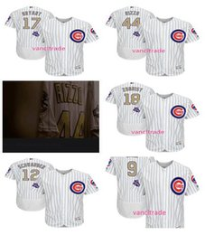 Wholesale 2017 World Series champions Gold Program Chicago Cubs Javier Baez Kris Bryant Anthony Rizzo Zobrist Flexbase baseball jerseys