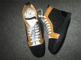 Франция человек Онлайн-С Box Франции Стиль Красного Нижняя обувь Высокий топ Rhinestone Женщины Мужчины Кроссовки Обувь Открытый обувь Повседневная Прогулки Квартиры 35-46