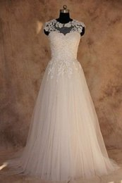 Simple Cheap A-line Wedding Dresses Tulle Appliqued Lace Real Photo Sheer Bridal Gowns 2017 Beach Dress For Brides