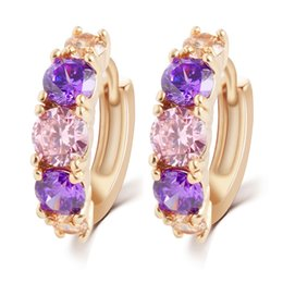 Swarovski elements purple zircon crystal ear clip sumptuous cooper alloy amethyst stud earrings women girl top quality jewelry gift