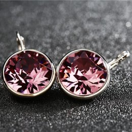 Wholesale 2017 hot sale white bella crystal earrings for women real crystal from Swarovski elements fashion stud earrings party jewelry accessories