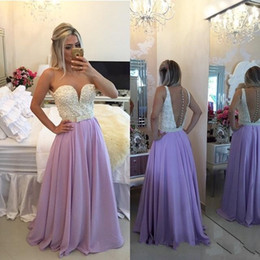 Wholesale Chiffon Gowns Beaded Tops - Vintage Lavender Long Chiffon Prom Dresses 2017 Sheer Neck White Satin Beading Top Sexy Illusion Low Back Floor Length Evening Gowns