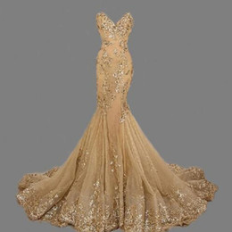 Stunning Mermaid Gold Prom Dresses Sequins Lace Up Back Evening Gown Real Sample Long Party Dress