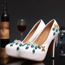 Wholesale Silver Beaded Peep Toe Heels - Peep Toe Green Dimond Rhinestones Wedding Shoes Dimond Women Evening Party Prom Pageant High-Heeled Beaded Bridesmaid Bride Bridal Pumps