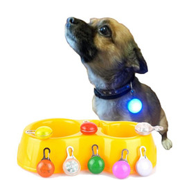 Wholesale Night Safety LED Dog Collar Leads Lights Push Button Switch Glow In The Dark Pets Accessories Bright Dog Collars Pet LED Pendant