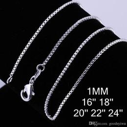 Beaux colliers en Ligne-Fashion 925 Sterling Silver Plated Colliers magnifiques 1mm boîte de la chaîne Collier Bijoux Taille 16/18/20/22/24 pouces C007