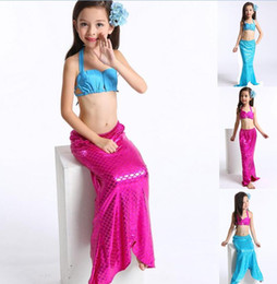 DHL 2017 New Cute Baby Girl Mermaid Combinaison de bain 3pieces FishTail Cosplay Six Style Enfant Baby Mermaid Girls Bikini Set Summer Swimwear cute cosplay girl deals à partir de mignon cosplay fille fournisseurs