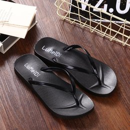Pure color flip flops ladies casual slippers, summer pinch feet, anti-skid flat beach shoes